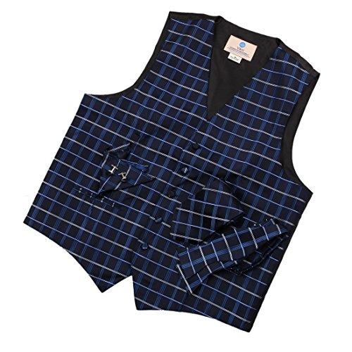 VS1022-L Blue Checker Herren Fashion Designer Smoking mit Krawatte f¨¹r Mann, Manschettenkn?pfe, Taschentuch, Fliege Weste f¨¹r Tuxedo Y&G