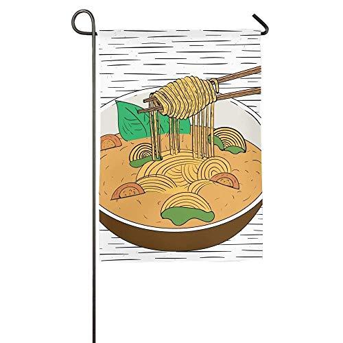 momnn Colorful Spaghetti Pasta Food Winter Lawn Yard House Garden Flags Polyester Fiber Decorative 12x18 inches