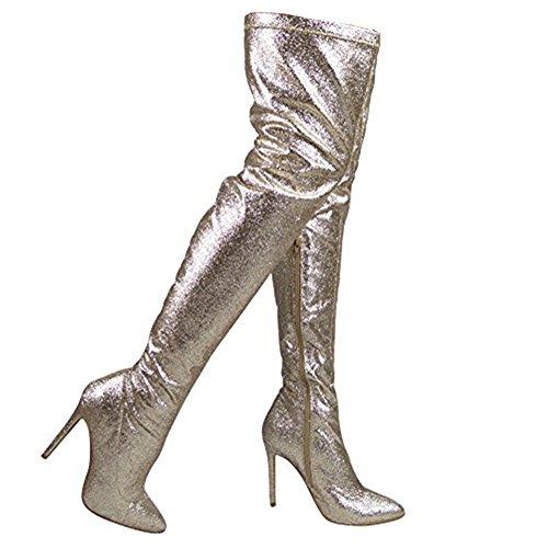 Dames Cuisse haute Briller Party Stylet Talon Au-dessus du genou Bottes Taille 36-41 Or