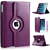 Apple Ipad Mini 360 rotation case with Screen Protector DN-TECHNOLOGY® (iPad Mini / Mini 2 / Mini 3 (2014), Purple)