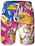 Rave on Friday Badehose für Männer, Pizza Katze Design Sommer Boardshorts Bequem Hawaiisch Bademode Hosen Mit Taschen L