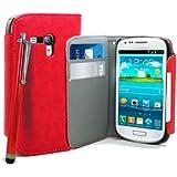 Accessory Master Etui en cuir Motif Livre Style avec Stylet pour Samsung Galaxy S3 Mini i8190 Rouge