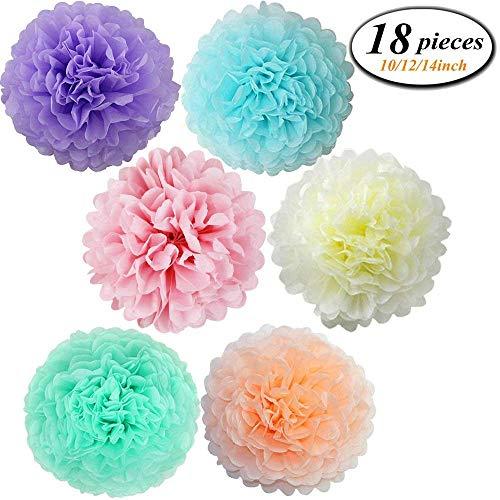 Erosion 18 Stücke Verschiedene Regenbogen Farben Seidenpapier Pom Poms Blume Bälle für Geburtstag Hochzeit Baby Shower Dekorationen ((Einhorn Pastell) -