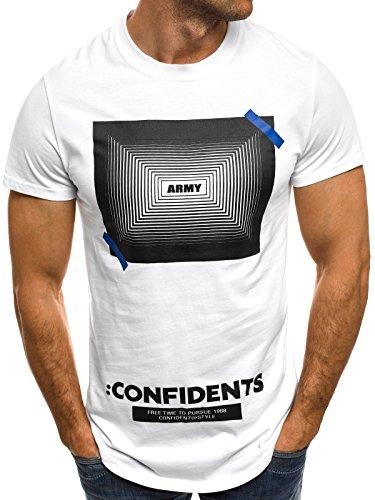 OZONEE Herren T-Shirt mit Motiv Kurzarm Rundhals Figurbetont J.STYLE SS083 Weiß