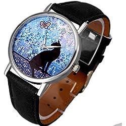 Familizo Women Cat Pattern Leather Band Analog Quartz Vogue Wrist Watch Black