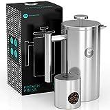 Coffee Gator French Press Kaffeemaschine - Heißer-für-länger Thermobrüher mit weniger Ablagerungen - Plus Behälter - Großes Fassungsvermögen, doppelwandig isoliert - Edelstahl - 1 Liter - Silber