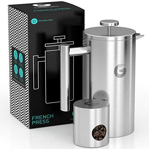 FRENCH PRESS/KAFFEEBEREITER/TEEBEREITER 1 Liter von Coffee Gator - Doppelwandige Französische Kaffeepresse um Kaffee länger warm zu behalten - Kaffeekanne Edelstahl - Mini Kaffeedose gratis dazu