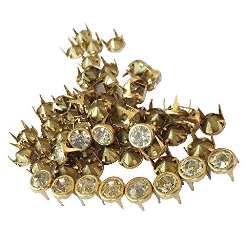 50pcs Runden Strass Crystal Studs Spot Spikes Nieten Punk Lederhandwerk Taschen - Gold, 8 mm -