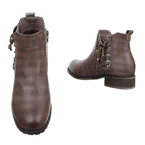 Ital-Design Chelsea Boots Damenschuhe Chelsea Boots Blockabsatz Blockabsatz Reißverschluss Stiefeletten Grau Braun JA3123