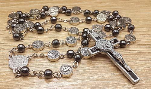 Zoom IMG-3 collana di rosario ematite cattolico