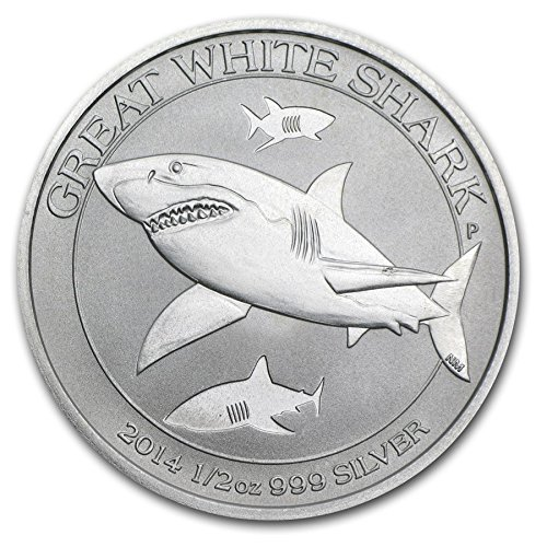 Australie Great White Shark 2014 50 Cent 1/2 oz (15.55 GR.) Argent 999 Silber Münze Monnaie