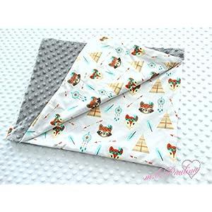 Waschbär,Fuchs Babydecke mit kuscheligen grau Plüsh Minky, Personalisierung mög.