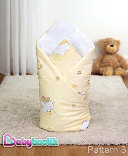 Baby-Kuscheldecke / Wickeltuch, Motiv Teddybär mit Leiter, 80 x 80 cm, gelb