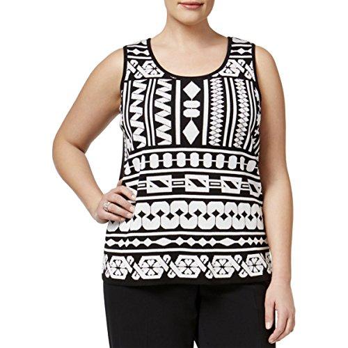 Anne Klein Womens Plus Knit Geometric Tank Top B/W 1X Black/White (Knit White Tank Top)