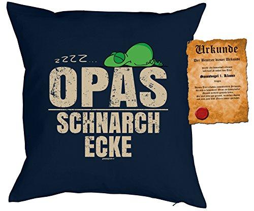 Opa Sprüche Kissen Geschenk - Großvater Geschenk : zzz… Opas Schnarch Ecke -- Kissen ohne Füllung + Urkunde -- Farbe: navyblau