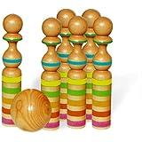 Vilac 4037 - Juego de bolos de madera (31 cm, 6 bolos y 1 bola)