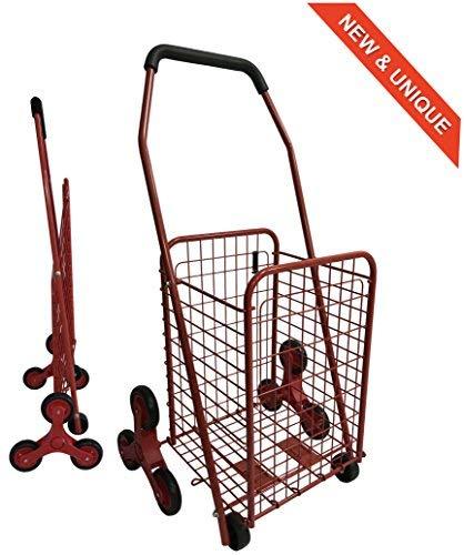 Bo Time 3760278732016 Einkaufstrolley, Metall, faltbar, Kapazität 43 l, Farbe: Rot, 8 Rollen ohne Tasche