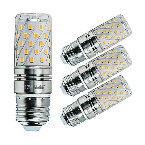 Sagel E27 LED Mais Birne, 12W LED Kerzenleuchter Glühbirnen 100 Watt Äquivalent, 1200lm, Warm Weiß 3000K LED Kronleuchter Lampen, Sockel E27, Nicht Dimmbare LED Lampe, 4er Pack (Uv-lampe 4p)