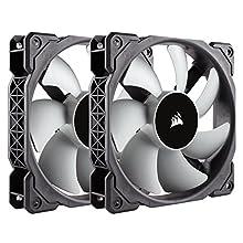 Corsair CO-9050039-WW ML Series ML120 120 mm Low Noise High Pressure Premium Magnetic Levitation Fan - Black/Grey (Pack of 2)