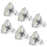 MR16 LED Kaltweiss, Wowatt 6er Led GU5.3 MR16 12V 6W Ersatz für 40W 35W Halogen Lampe AC DC12V Kein Stroboskopeffekt GX5.3 6000K 510lm Hell Spot Birne Leuchtmittel 120°Abstrahwinkel Tageslicht