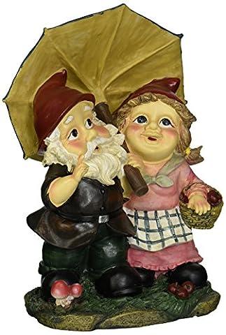 Design Toscano Rainy Day Gnomes Under an Umbrella Garden Statue