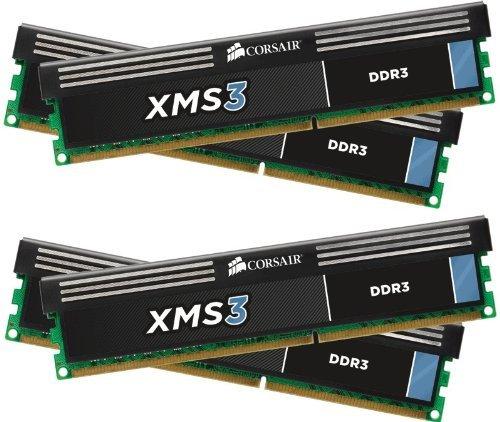 Corsair CMX16GX3M4A1600C9 XMS3 16GB (4x4GB) DDR3 1600 Mhz CL9 Performance Desktop Memory -