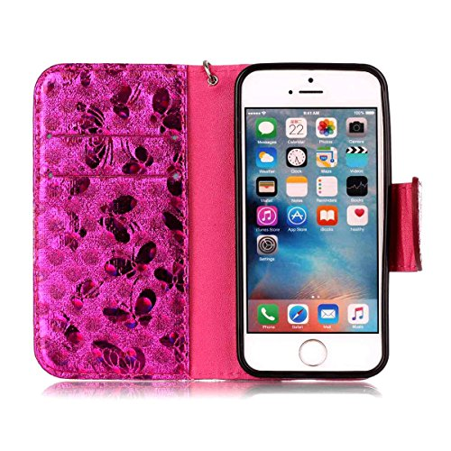 "MOONCASE iPhone 5/iPhone 5s/iPhone SE Flip Cover, [Butterfly Pattern] PU Cuir Étuis Case Built-in Support TPU Antidérapant Housse de Protection pour iPhone 5s/iPhone SE 4.0"" Bleu Hotpink"