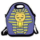 Egypt Pharaoh Smiley Clipart Lunch Tote Insulated Reusable Picnic Lunch Bags Boxes For Men Women Adults Kids Toddler Nurses