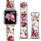 X-cool für Apple Watch Lederarmband 42mm Weiß Rot Blume für iwatch Apple Watch Series 3 Series 2 Series 1