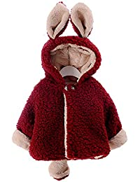 cczz Baby de chaqueta para niña otoño invierno con capucha abrigo Niedlich oído cola übergangsmantel Artificial pelo grosor Ropa 0–3AñOS