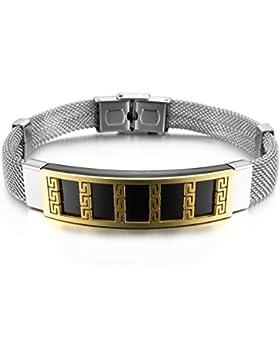 MunkiMix Edelstahl Armband Manschette Handgelenk Schwarz Silber Golden Zwei Ton Griechisch Herren