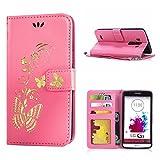 MOONCASE LG G3 Hülle, Bronzing Schmetterling Leder Tasche Magnetisch Schutzhülle für LG G3 Brieftasche Klappetui Case mit Standfunktion und Karte Halter Rosa