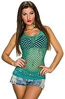 TYZI Damen Netz Top Netztop Tanktop Shirt mit vielen Löchern Ringer Rücken, verschiedene Farben