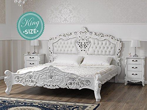 Letto stile Rococo Moderno matrimoniale king size bianco laccato ...