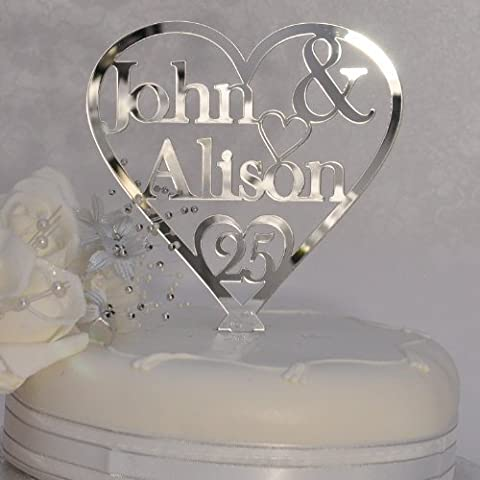 Personalised names Heart Cake Topper 125mm x 125mm - 25th