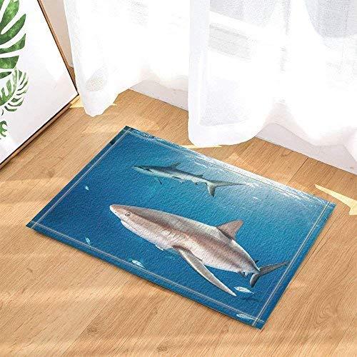 fdswdfg221 Meerestier Fisch Dekorative Delfine Schwimmen im Meer mit Sonne Badezimmer Teppich Anti-Rutsch-Fußmatte Boden Eingang Outdoor Indoor Haustürmatte Kinder Bad-Accessoires