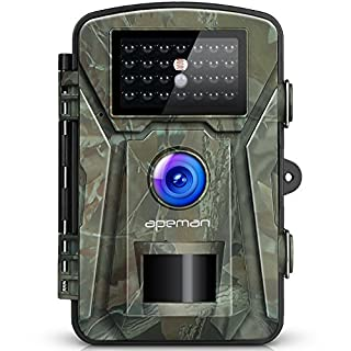apeman 【Upgraded】 Trail Camera 12MP 1080P Wildlife Camera Trap 2.4''LCD with Infrared Night Vision up to 65ft/20m IP66 Spray Waterproof for Outdoor Nature, Garden, Home Security Surveillance