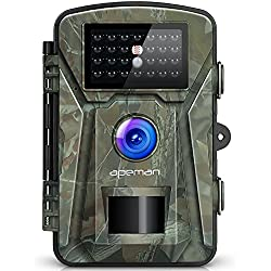 APEMAN Caméra de Chasse 12MP 1080P avec 26 Capteurs Infrarouges LED de 940nm. Portée en Mode Vision de Nuit de 65pieds / 20 Mètres Étanchéité à la Norme IP66 Camera Chasse Infrarouge