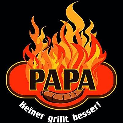 """Wandkings Schürze """"Papa, keiner grillt besser"""" - Grillschürze - Küchenschürze - Kochschürze - Latzschürze mit verstellbarem Nackenband"""