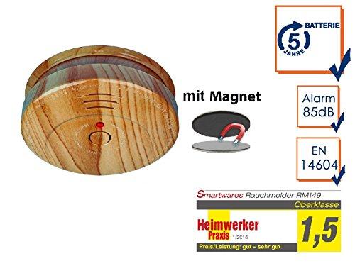 Rauchmelder in Holzoptik mit 5 Jahres Batterie & EASY Magnetmontage - Jetzt 5 Jahre Brandschutz...