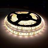 BOGAO Flexible LED Streifen Lampe, 5 Meter 300 LEDs 5630 SMD 16.4 ft DC12 V, wasserfest IP65, heller als SMD LED Band, LED Tape,warmweiß, loop-top, 60.00W 12.00V