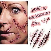 10PC Halloween Zombie Tatouage Temporaire Blessure Cicatrice Plaie Costume Maquillage Faux Sang de Scab de CHIC-CHIC