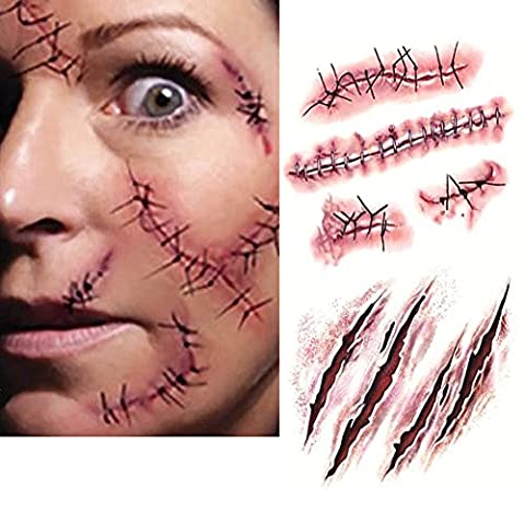 10PC Halloween Zombie Tatouage Temporaire Blessure Cicatrice Plaie Costume Maquillage