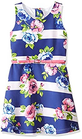 Marmellata Big Girls' Belted Tank Dress, Blue Multi, 8