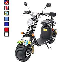 PEQUENENES Patinete Scooter EFLUX Harley 1500 W 60 V 20AH BATERIA Ion Litio (Amarillo)