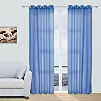 2x Visillos Transparentes Voiles Cortinas con Ojales Modernos Decorativos para Salón Dormitorio Balcón, 140x260cm, Celeste (varios colores disponibles)