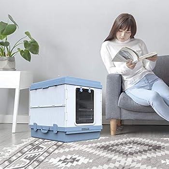 FXQIN Boîte à litière pour Chat - Toilette pour Chat entièrement fermée et Pliable, avec litière à litière, Anti-éclaboussures et contrôle des odeurs, Bleue