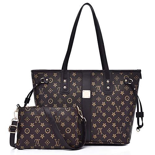 Womens Tote Bags Aus Weichem Leder Mit Großer Kapazität Umhängetaschen Arbeit Laptop Für Damen Handtaschen Designer Geldbörsen Set,Black