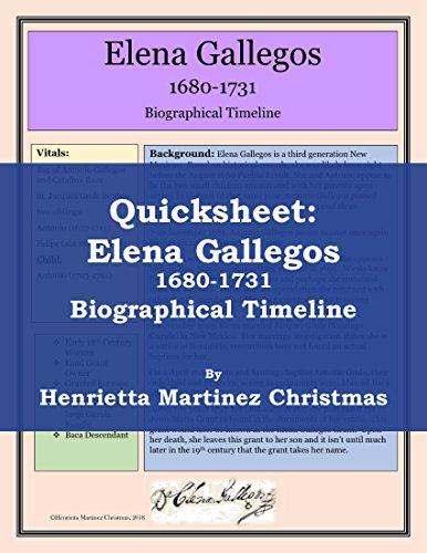 Quicksheet: Elena Gallegos, 1680-1731, Biographical Timeline (English Edition)