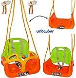alles-meine.de GmbH 3 in 1 : Babyschaukel - MITWACHSEND - incl. Name - Gitterschaukel - Schaukel für Kinder - Innen und Außen / Garten - für Baby´s Kinder aus Kunststoff / Plastik - Kinderschaukel & Babyschaukel